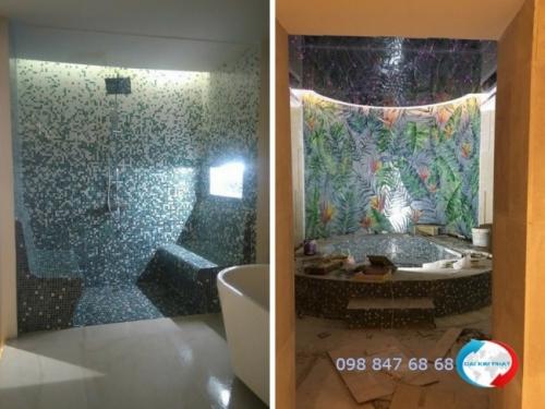 Khu vực phòng tắm trang trí gạch Mosaic tạo hình hoa văn, họa tiết độc đáo