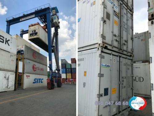 Bốc xếp container lạnh hàng thủy sản nhập khẩu tại cảng Cát Lái - hình ảnh khai thác từ cảng bởi Dịch Vụ Hải Quan Trọn Gói - XNK Đại Kim Phát