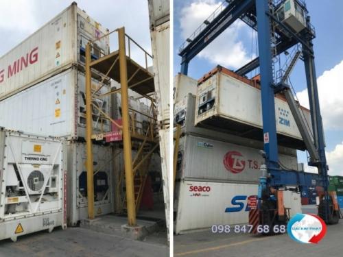 Hình ảnh thực tế quá trình bốc xếp container lạnh hàng thủy sản nhập khẩu tại cảng Cát Lái - hình ảnh khai thác từ cảng bởi Dịch Vụ Hải Quan Trọn Gói - XNK Đại Kim Phát