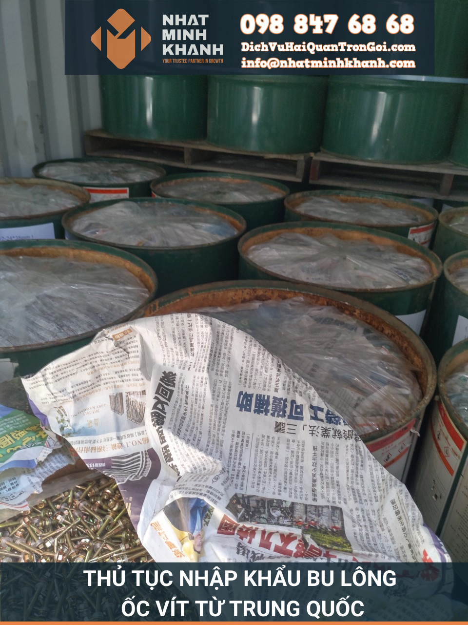 Thủ tục nhập khẩu bu lông, ốc vít từ Trung Quốc năm 2021 của Xuất Nhập Khẩu Nhật Minh Khánh